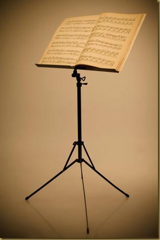 Dùng giá để bản nhạc khi tập violin